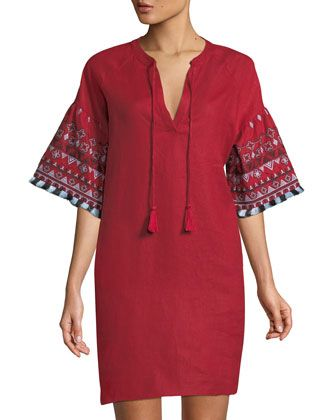 Embroidered+Linen+Tie-Neck+Dress+by+Neiman+Marcus+at+Neiman+Marcus+Last+Call.