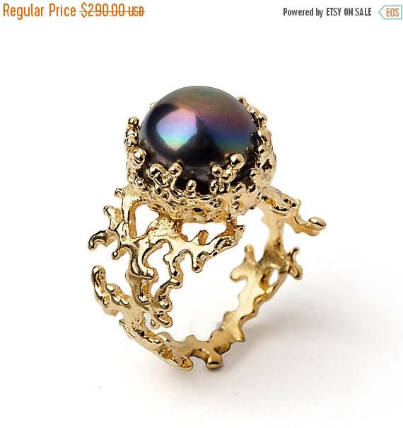 SALE 20% Off  CORAL Black Pearl Ring Gold Pearl Ring Black