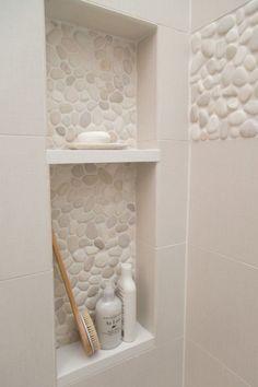 Master bathroom remodel; shower; shampoo niche; pebble tile| Interior Designer: Carla Aston / Photographer: Tori Aston