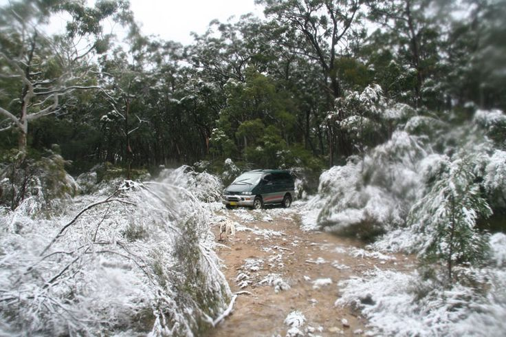 Road in snow Megalong Valley