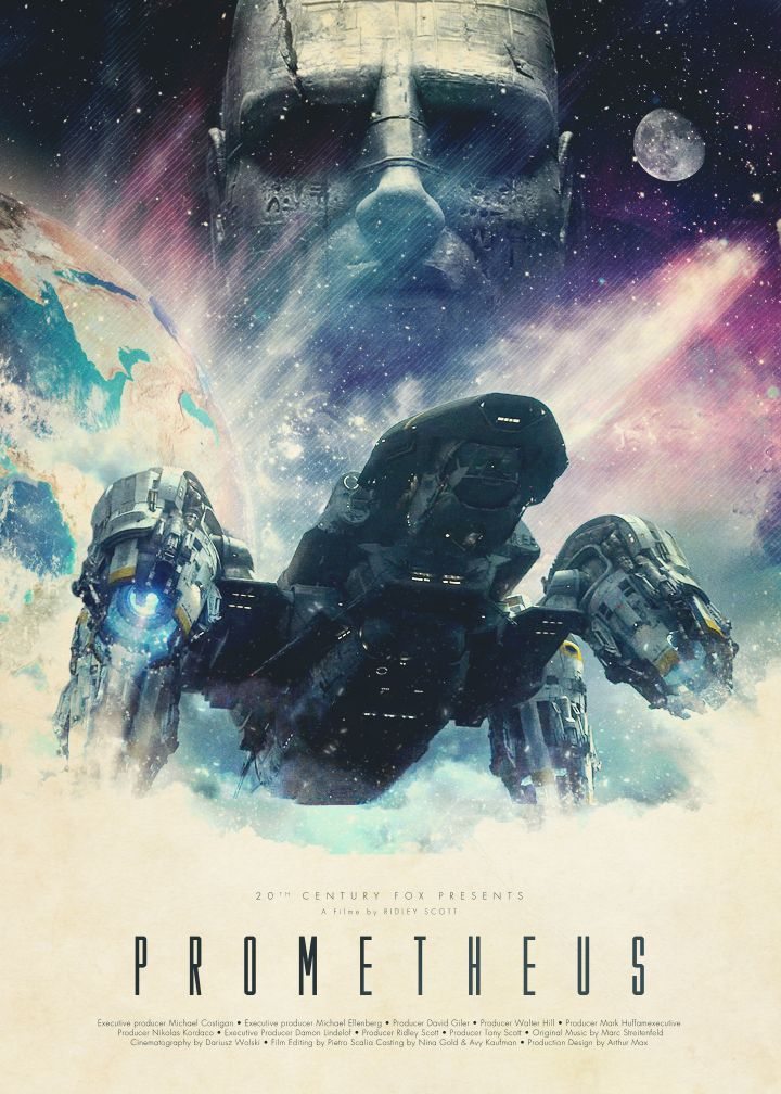 PROMETHEUS (2012): Following clues to the origin of mankind a team journey across the universe and find a structure on a distant planet containing a monolithic statue of a humanoid head and stone cylinders of alien blood but they soon find they are not alone.