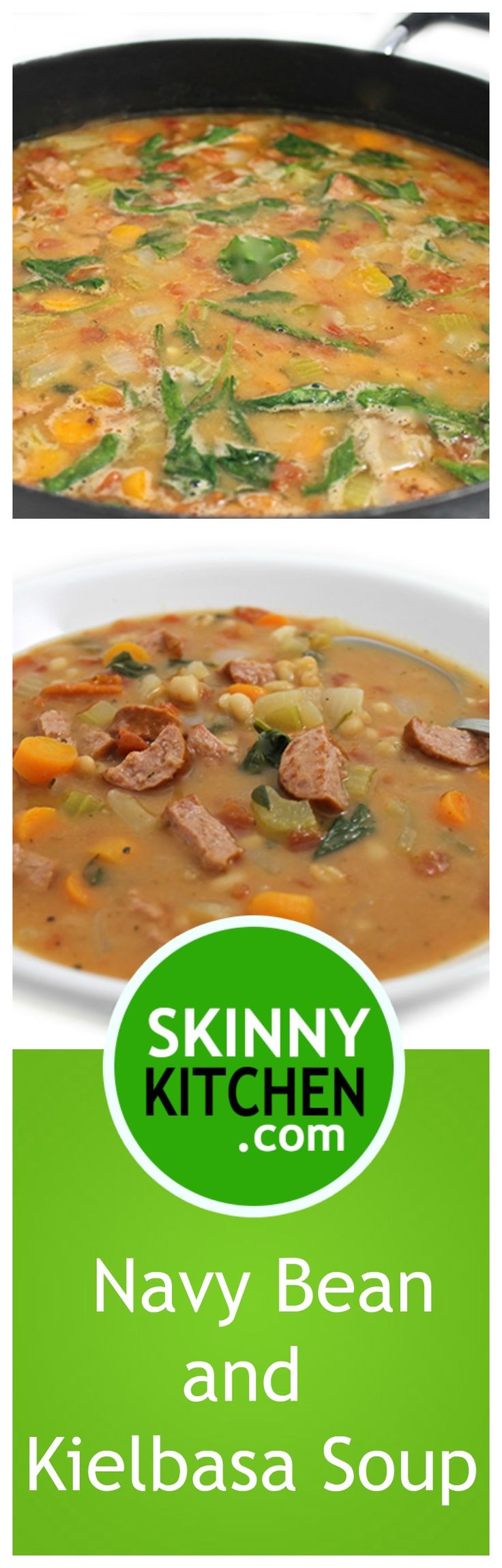 Navy Bean, Spinach and Kielbasa Soup. It's a richly flavorful, very hearty, main course soup. Each bowl has 356 calories, 9g fat & 8 SmartPoints. #soup #glutenfree #smartpoints https://www.skinnykitchen.com/recipes/navy-bean-spinach-and-kielbasa-soup/
