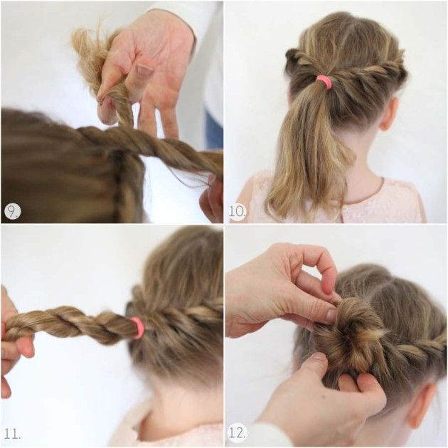 Twisted crown / ballerina bun tutorial. I realize this is for little girls but it is still really adorable and I'd like to try it out on myself!