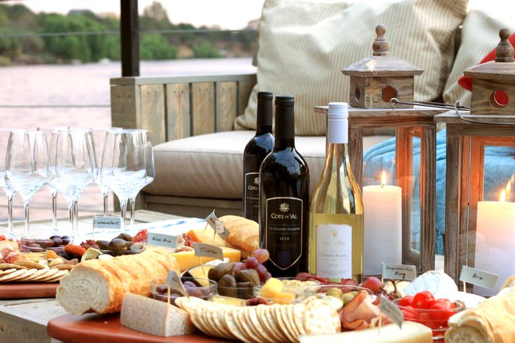 Table spread on deck at Pont de Val