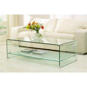 Ik vond dit op Beslist.nl: Glazen Salontafel Cordoba Helder Glas met Plank 135x65cm