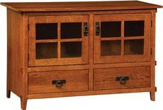 Deluxe Mission Two Door Plasma TV Cabinet with Drawers | Indiana Amish TV Stand | Mission Style Plasma TV Stand
