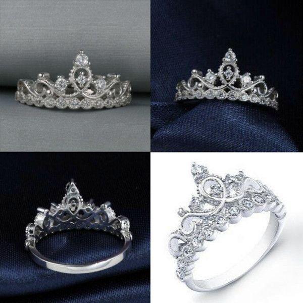 925 Silver Princess Crown Ring