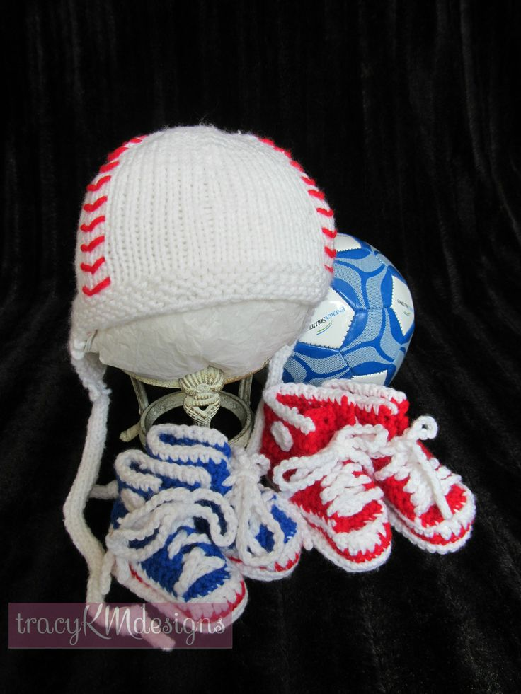 Custom crocheted hightops (and a knit baseball hat).