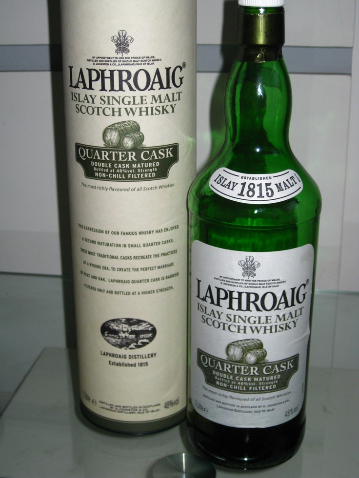 Laphroaig Quarter Cask takes its inspiration from the small casks used in the 1800's, the relationship between the barrels and the maturing spirit is critical.  Quarter Cask is simply barrier filtered as used in those days – and bottled at a higher alcoholic strength.  The added oak influence creates a soft sweetness and velvety feel at first taste, then the intense peatiness of Laphroaig, comes bursting through. The finish is very long and alternates between the sweetness and the peat.
