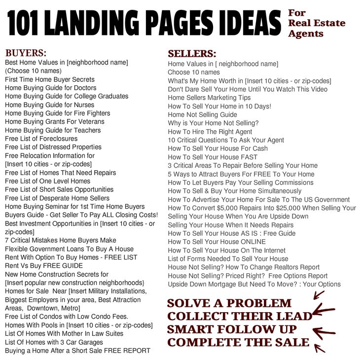 101 Landing Pages Samples For Real Estate Agents