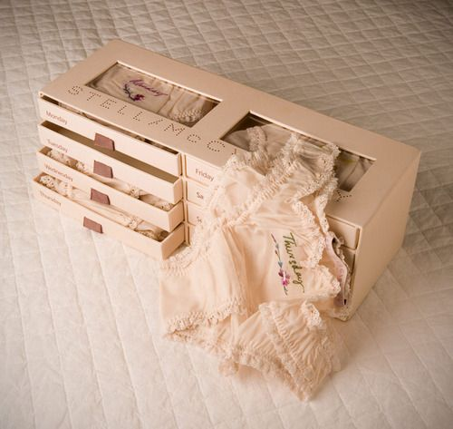 >>> packaging. day of the week panties. little drawer for each. <3