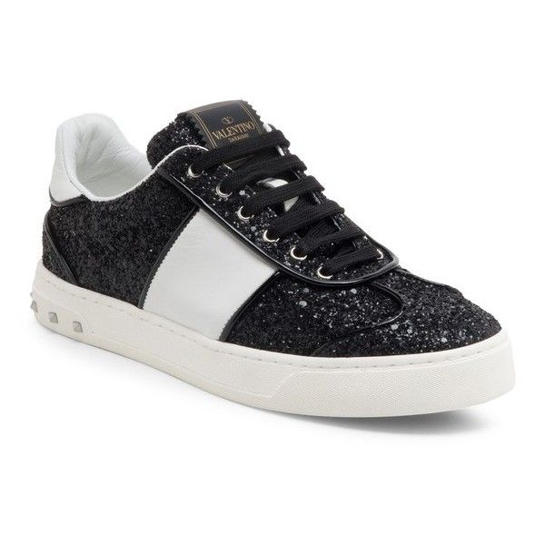 Valentino Fly Crew Glitter  Leather Sneakers ($675) ❤ liked on Polyvore featuring shoes, sneakers, black, valentino trainers, black trainers, glitter sneakers, black leather shoes and kohl shoes