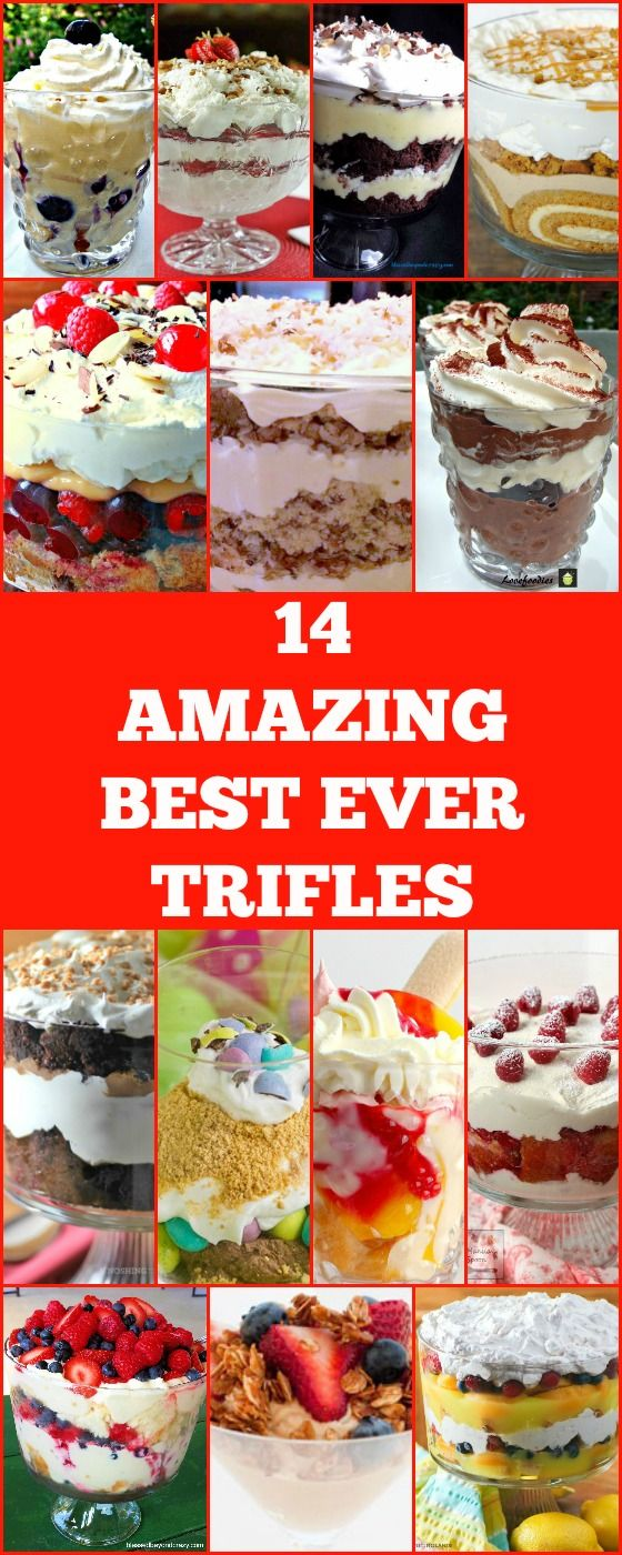 14 Amazing Best Ever Trifle recipes perfect for the holidays, Thanksgiving, Christmas. Easy to make and very popular #Christmas #thanksgiving #Trifle #dessert via @lovefoodies