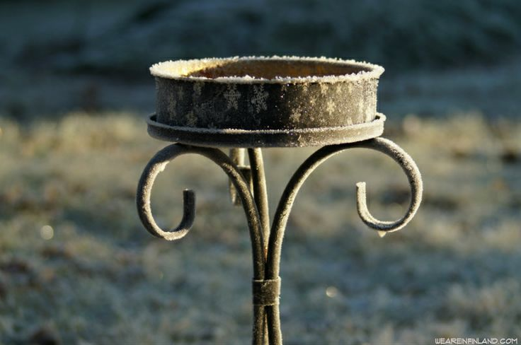 A frozen candle holder in the yard. #Finland #winter