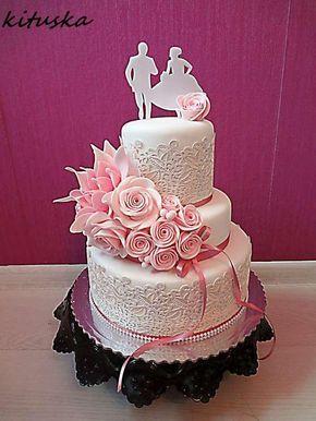 svadobná s ružovou kytičkou , svadobné torty | Tortyodmamy.sk