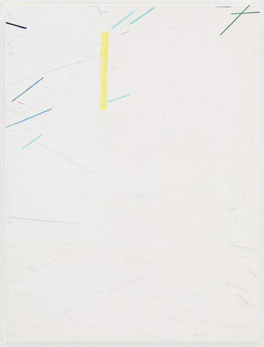"""Eve Aschheim, """"Line Light Light,"""" 2013, oil and graphite on canvas on panel 16 3/16 x 12 1/16 in."""