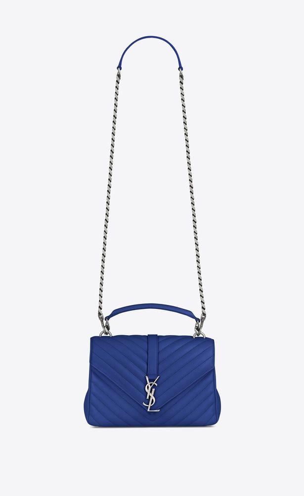 SAINT LAURENT Monogram College Woman Medium COLLEGE bag in royal blue  matelassé leather a V4 f653d275ea8e6