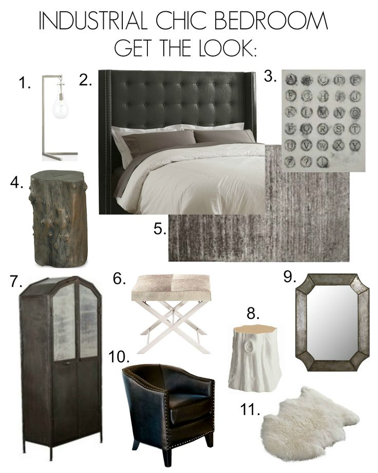 industrial chic bedroom inspiration board