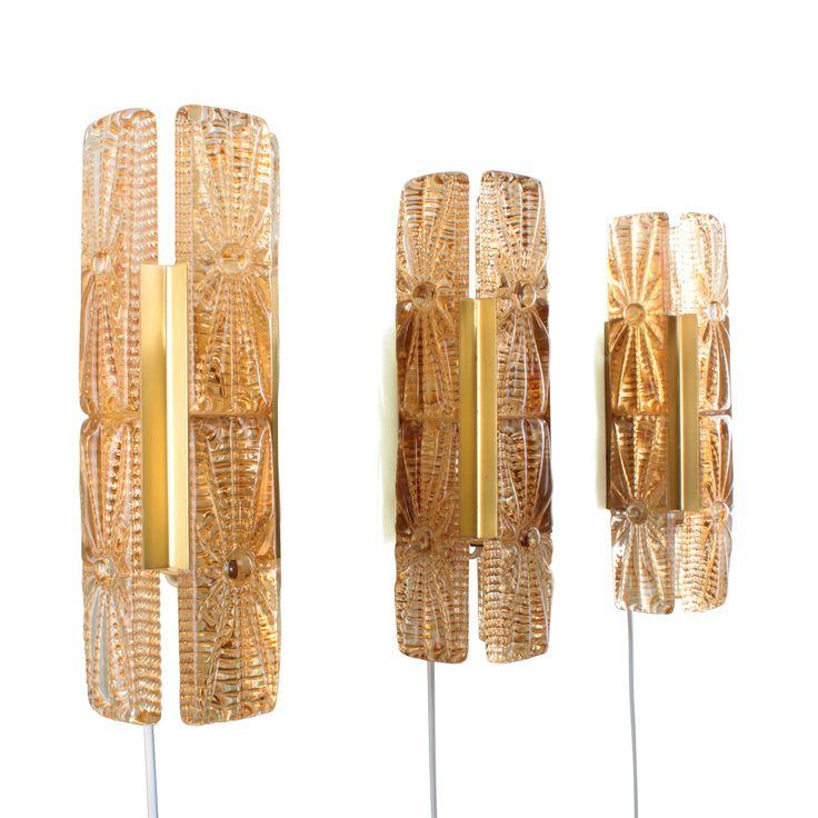 ALADDIN LIGHTS (set of 3), sconces by Vitrika, 1960s. Danish Mid-century design. RARE set of 3 stylish wall lamps w. pressed glass & brass by DanishVintageDesigns on Etsy