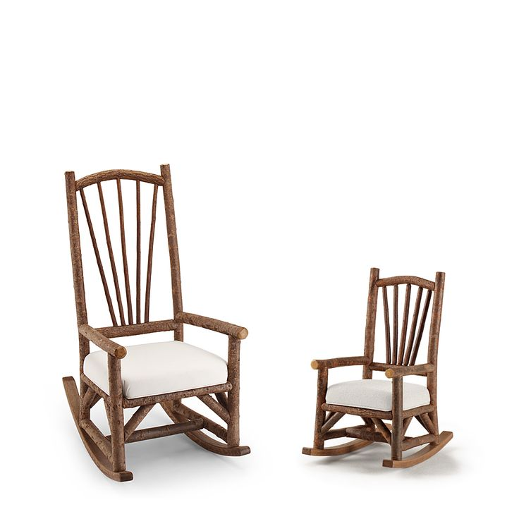 Rustic Rocking Chair #1190 & Child's Rocking Chair #1192 shown in Natural Finish (on Bark) by La Lune Collection