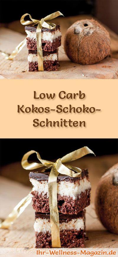 Rezept für Low Carb Kokos-Schoko-Schnitten - kohlenhydratarm, kalorienreduziert, ohne Zucker und Getreidemehl