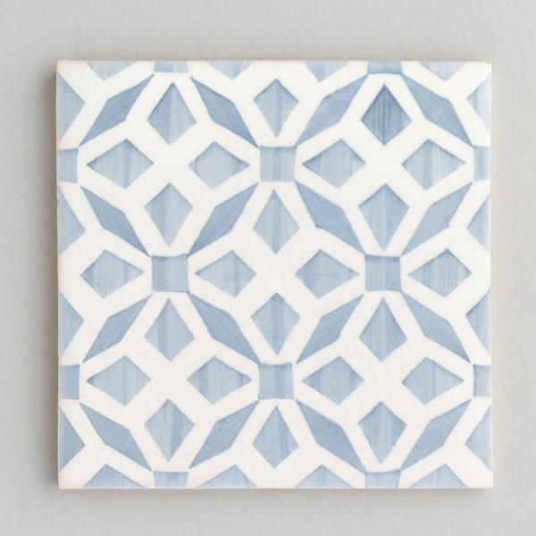 Aveiro Tile Handpainted Handmade Patterned Grey And White Tiles From Everett And Blue