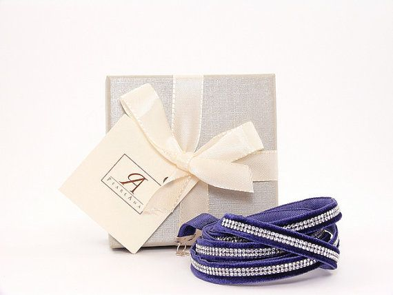 Blue Swarovski multi strand wrap bracelet, blue multi strand wrap bracelet, blue swarovski crystal bracelet