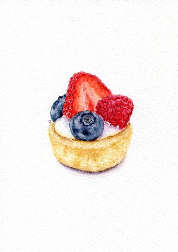 Berry tart - ORIGINAL Painting (Vintage Style Still Life, Kitchen Wall Art, Watercolour Food Illustration) 5x7 in