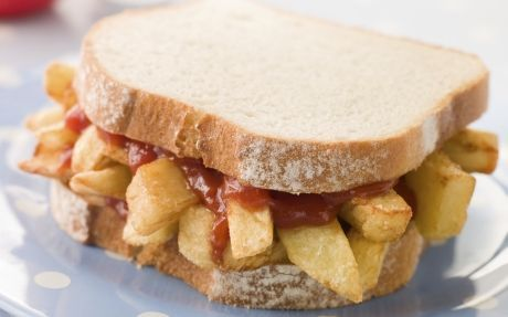 The Chip Butty - remember the days before cholesterol, saturated fat, and warnings about too much salt..!!!  Those were the days....