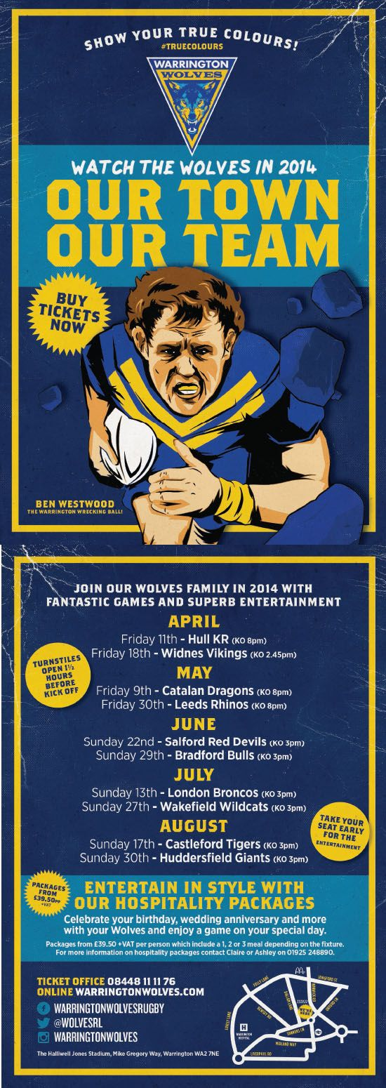 Warrington Wolves Graphic Design Rugby Flyer by www.diagramdesign.co.uk