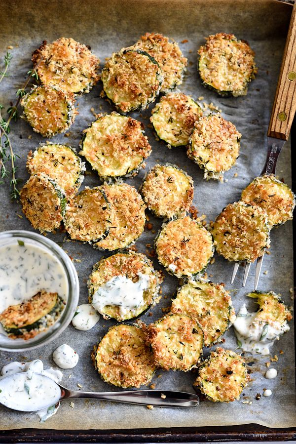 Baked Zucchini Parmesan Crisps #Recipe... #appetizer Zucchini gets a crispy turn with panko bread crumbs and Parmesan cheese, spiked with fresh thyme leaves that are baked in the oven instead of fried. | foodiecrush.com