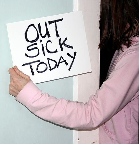 Being sick.