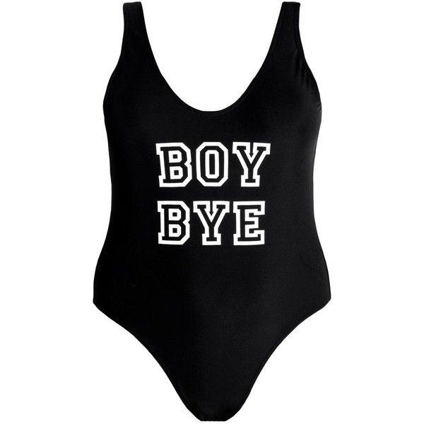 Boohoo Plus Olivia 'Boy Bye' Slogan Swimsuit ($44) ❤ liked on Polyvore featuring swimwear, one-piece swimsuits, swimsuit swimwear, swimming costume, swim costume, boohoo swimwear and bathing suit swimwear
