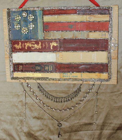 Ornate Splendor: Book Spine Flag USA