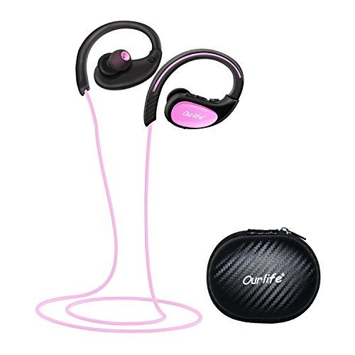 Bluetooth Headphones Ourlife Wireless Headphones Sport w/ Mic IPX5 Waterproof HD Stereo Sweatproof Earbuds for Gym Running Workout 8 Hour Battery Bluetooth V4.1 (Pink)