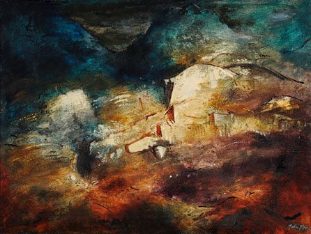 Rocky Valley, North Wales, 1948, oil and gesso on canvas, private collection © The John Piper Estate