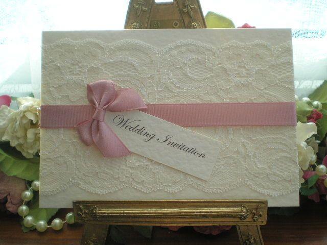 K0030 Chanel Dusky Pink LIvory Lace Satin Wedding Invitation, Vintage Lace Wedding Cards Available from www.vintagelaceweddingcards.co.uk