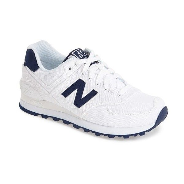 New Balance '574' Sneaker ($65) ❤ liked on Polyvore featuring shoes, sneakers, rubber sole shoes, retro sneakers, new balance footwear, new balance trainers and retro shoes