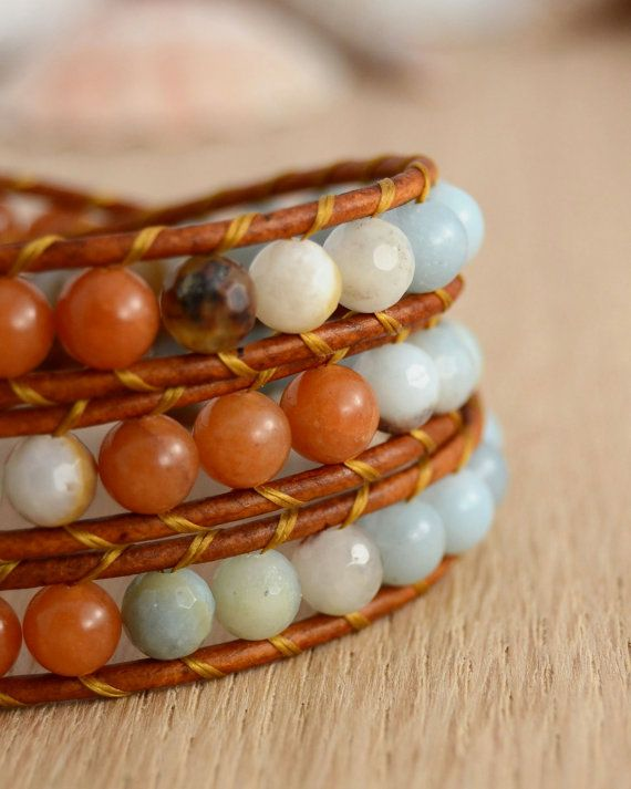 Earthy fall bracelet. Natural leather wrap by SinonaDesign on Etsy, €49.00