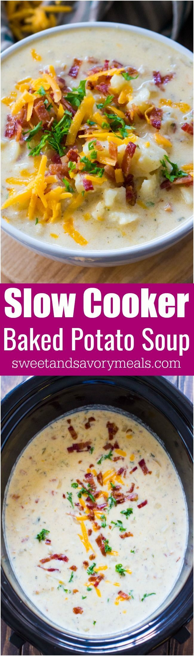 Creamiest Slow Cooker Baked Potato Soup is comforting, budget friendly and also very easy to make! Perfect for a weeknight meal. #slowcooker #slowcookerrecipes #soup #souprecipes #potato