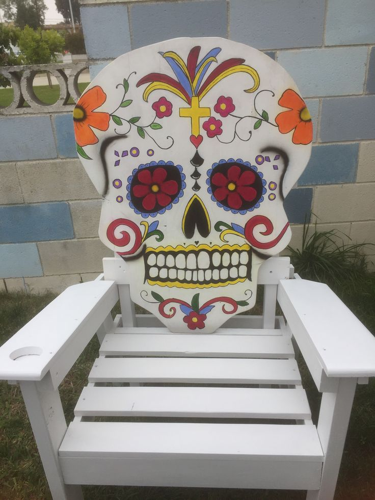 Amazing Dia De Los Muertos Chair, Day Of The Dead Sugar Skull Chair