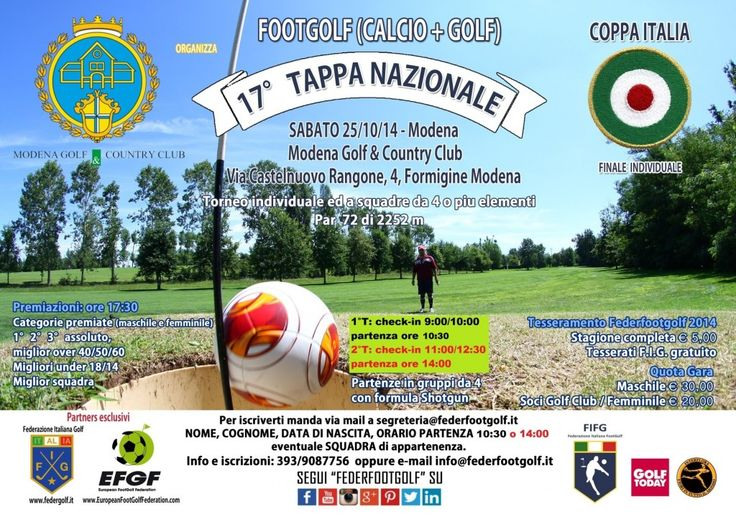 Sabato 25/10 Major di #FootGolf !  Si assegna la Coppa Italia della @Federfootgolf di ogni categoria al Modena Golf & Country Club