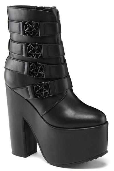 """NANCY. We are the Weirdos, Mister. - Faux Leather.- PentagramHardware.- Zip Closure.- 6"""" Platform.- Vegan. Are you a good witch or bad witch? Nancy large plat"""