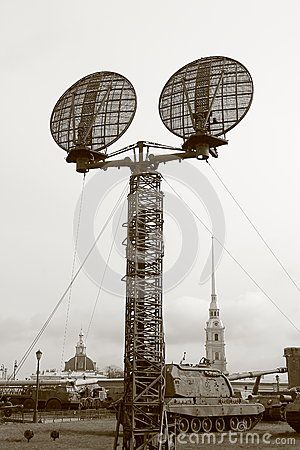 The antenna for military purposes in outdoor exposure of the Museum of Artillery, Engineer and Signal Corps. Saint-Petersburg, Russia