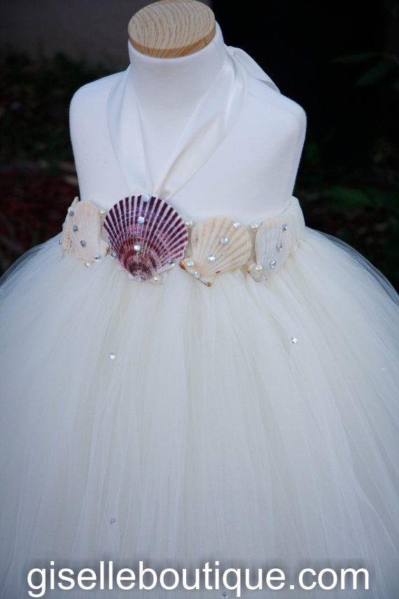 Flower girl dress Ivory Seashells with Pearls Beach Wedding Tutu Dress. baby tutu dress, toddler tutu dress, wedding, birthday on Etsy, $132.66 AUD