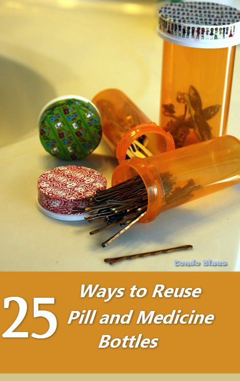 A round up of ideas how to reuse empty plastic medicine pill bottles.