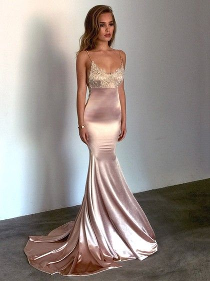 4f9129f9b5a Silk-like Satin V-neck Trumpet Mermaid Sweep Train Appliques Lace Prom  Dresses £115.99
