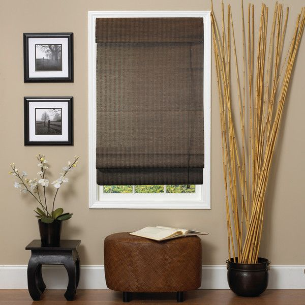 Lewis Natural Espresso Roman-Style Fiber Shade ($36) ❤ liked on Polyvore featuring home, home decor, window treatments, window blinds, brown, brown roman shades, roman window shade, roman window shades and brown window blinds