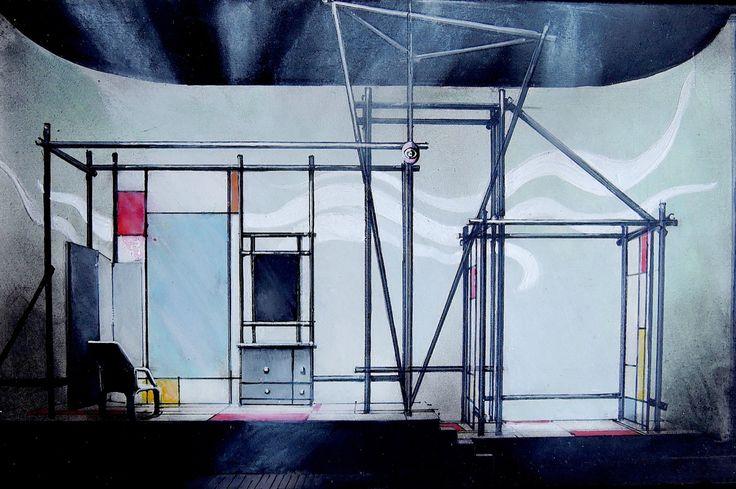 I Fanatici di R. Musil / Bozzetto di scena (tempera su carta) • GianVincenzo Gatti