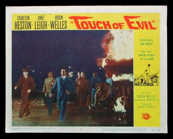 TOUCH OF EVIL original 1958 lobby card Charlton Heston Janet